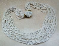 Vintage Multi Stranded White Twisted Torsade Bead Necklace.